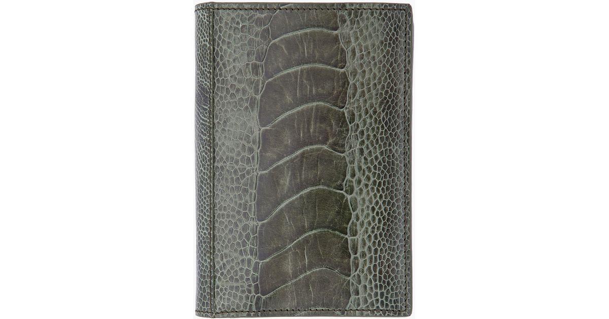 Saint laurent Olive Ostrich Leather Wallet in Green for Men (olive ...
