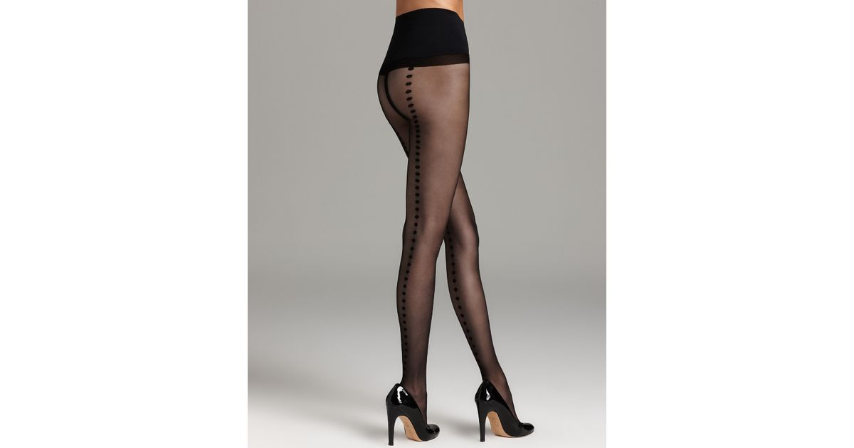 30e2088c9d3 Commando Tights Premier Sheer with Polka Dot Back Seam H10t13 in Black -  Lyst