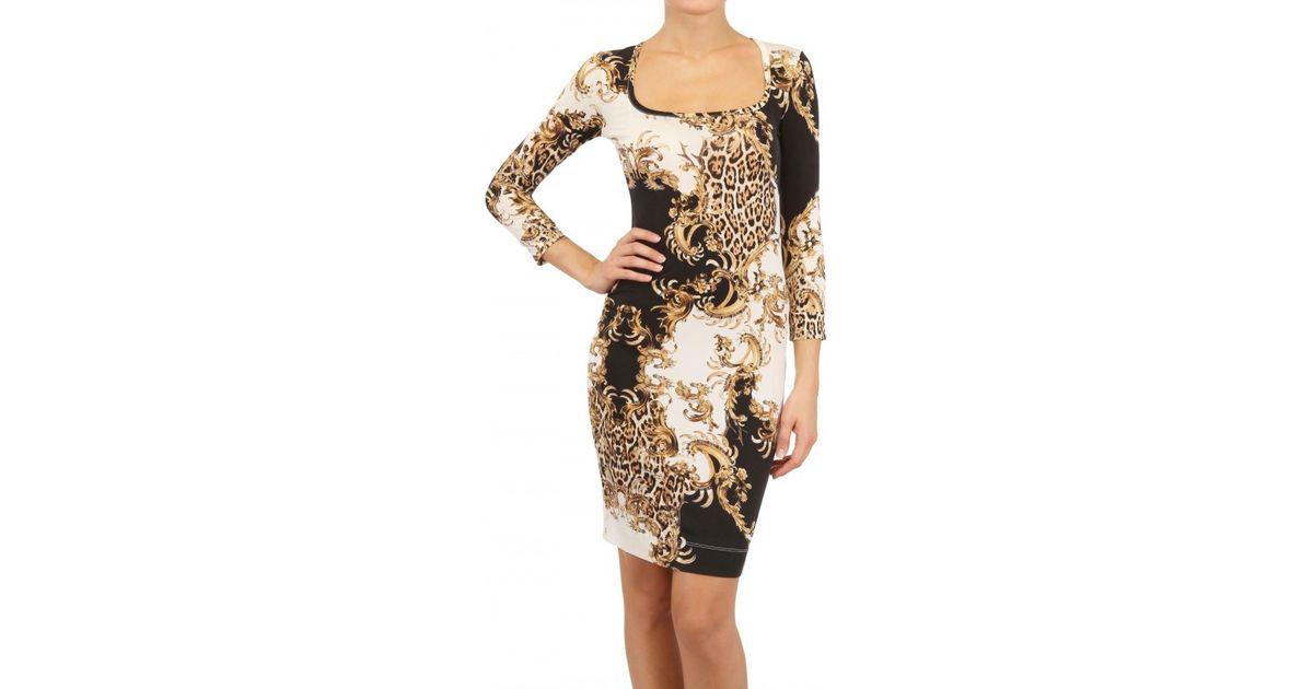 e1fa34f2075c9 Just Cavalli Leopard Print Silky Jersey Dress in Brown - Lyst