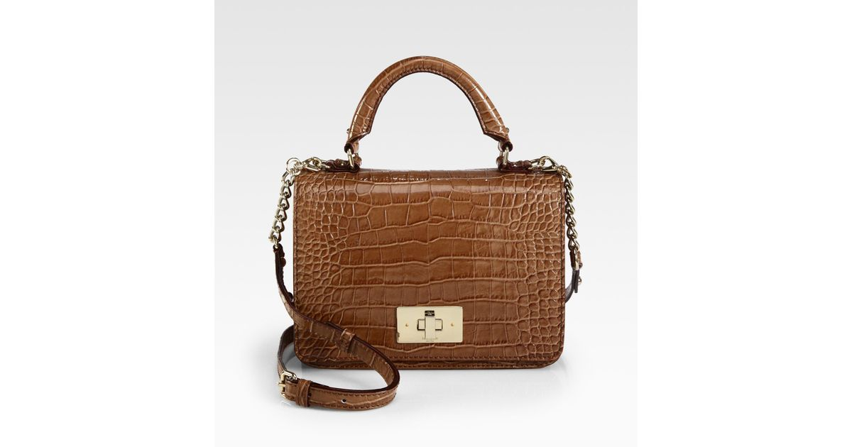Lyst Kate Spade New York Carlyle Patent Crocodile Embossed Leather Top Handle Bag In Brown
