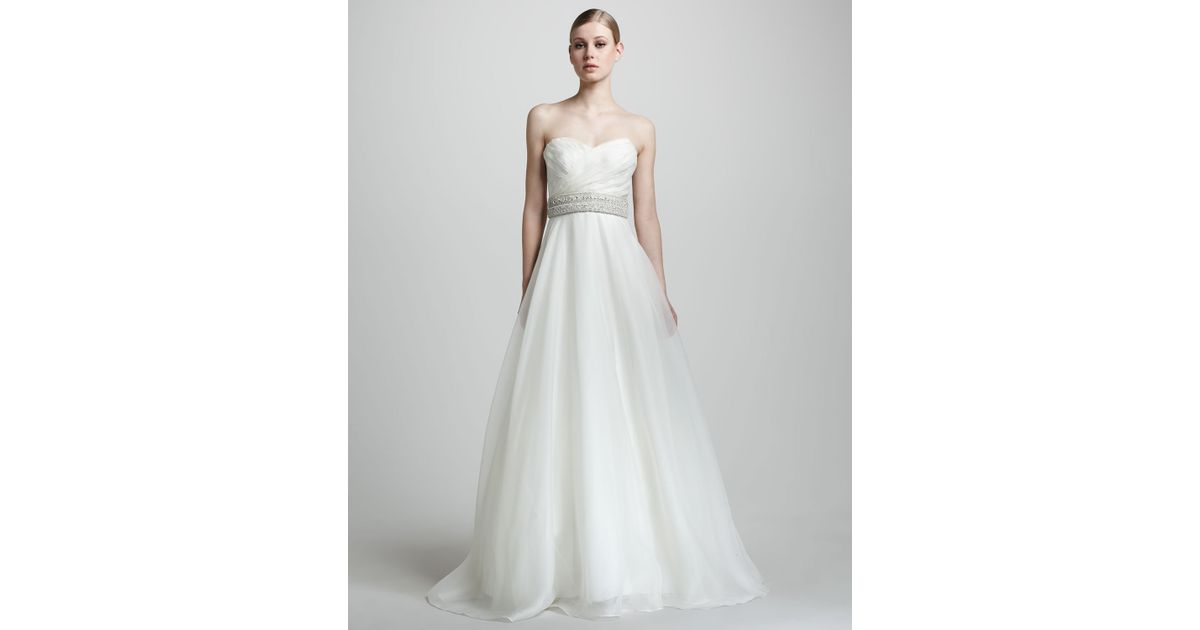 Lyst - Theia Strapless Organza Ball Gown in White