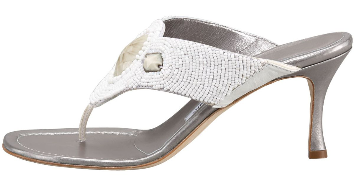 Manolo blahnik Beaded Mid-heel Thong Sandal in White | Lyst