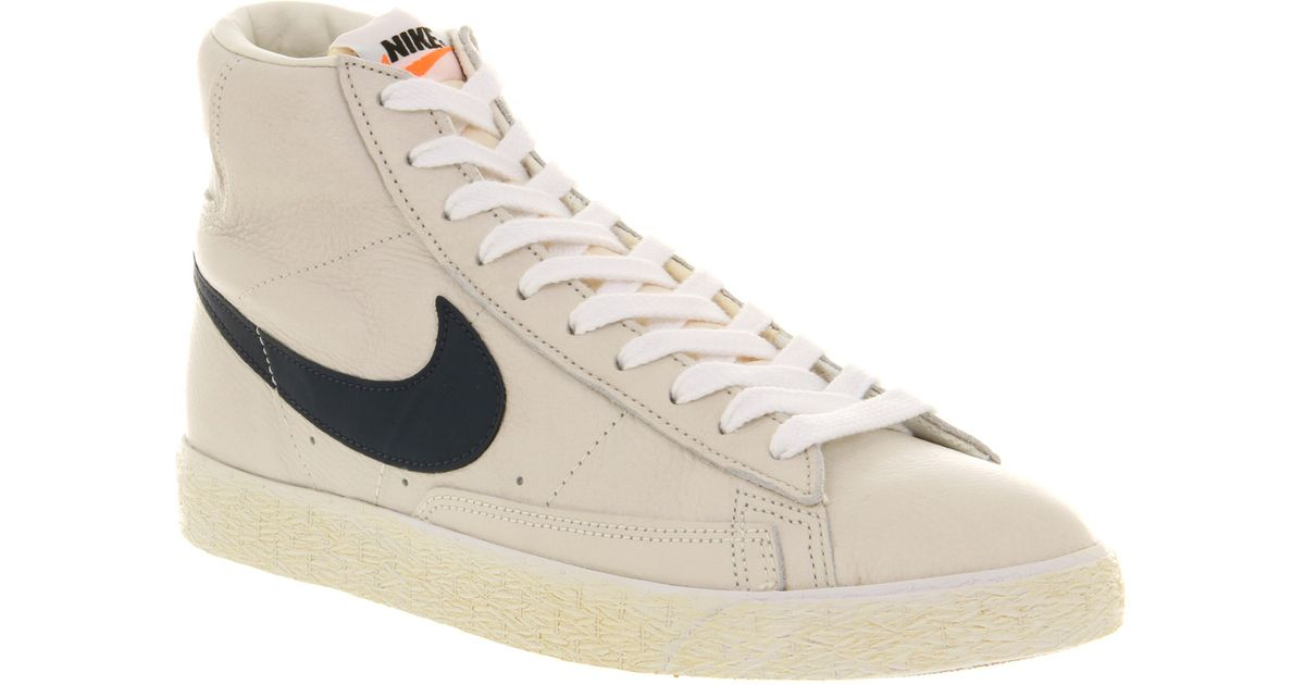 release date: cheapest price best sneakers Nike Natural Blazer Mid Vintage Leather Sail Mid Navy White Gm Mid Brown  for men