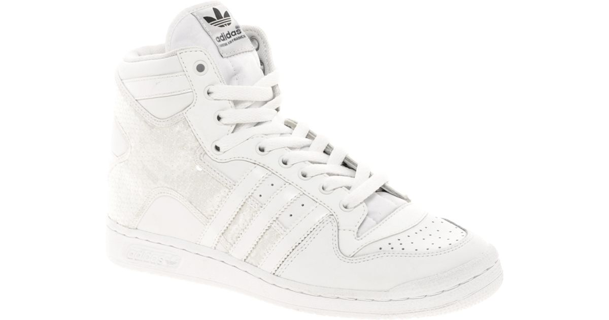 fluctuar tetraedro constructor  adidas Decade Sequin High Top Trainers in White - Lyst