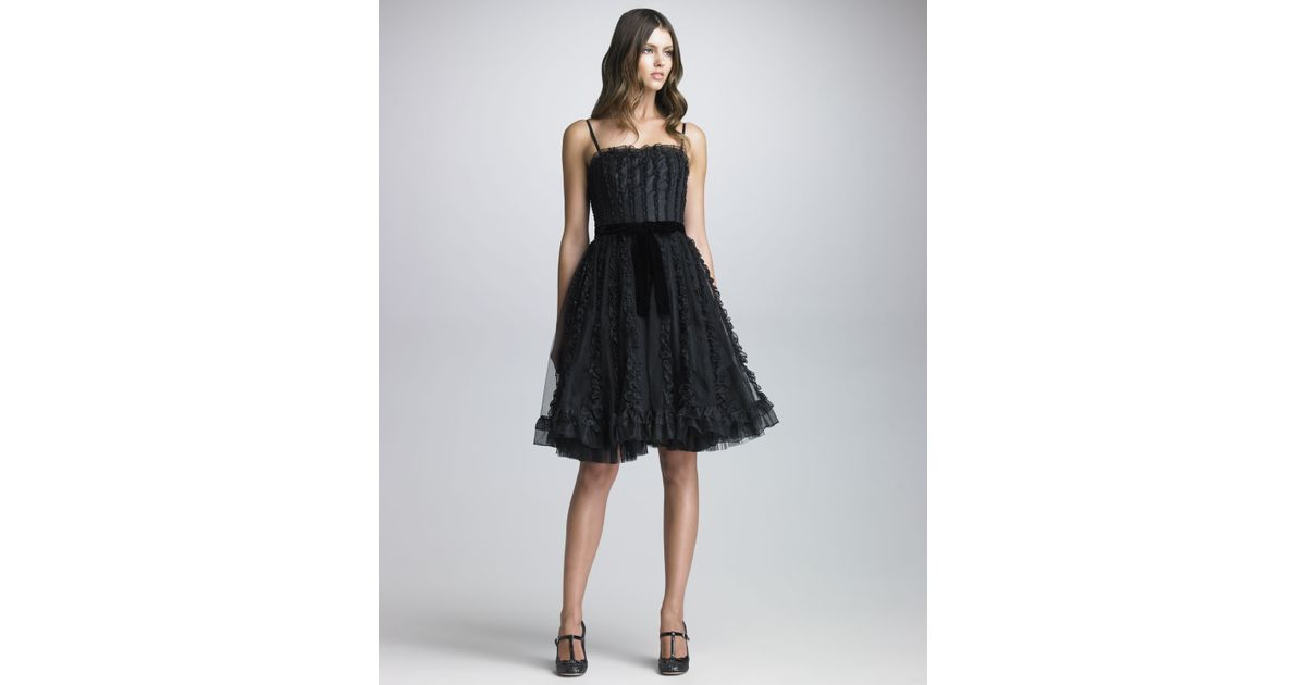 Lyst Red Valentino Organza Ruffled Tulle Dress In Black
