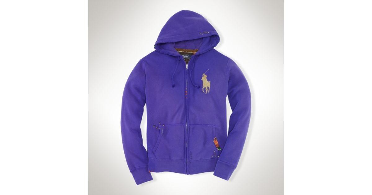 Hoodie Ralph Polo Big Pony Lyst Purple Distressed Men Lauren For luJ3TFK1c
