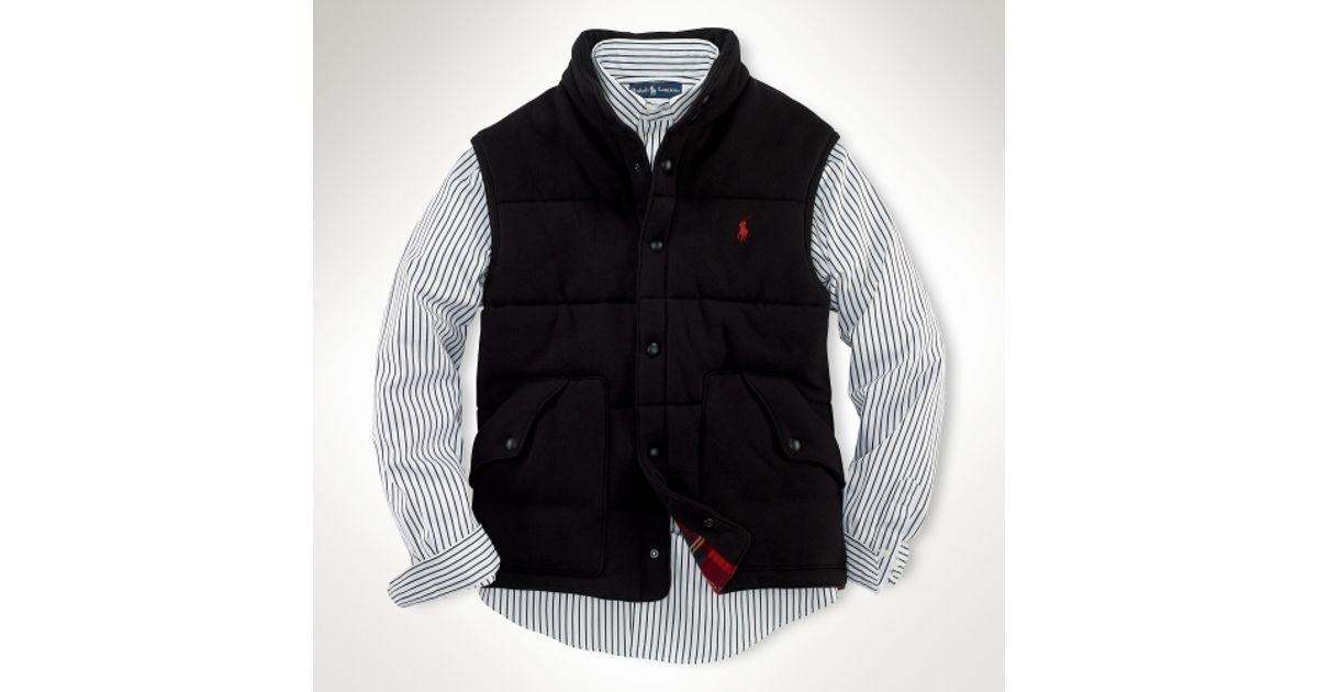 Lauren Black For Tartanlined Men Polo Fleece Ralph Vest hdrxtsCQB
