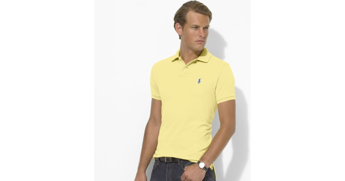 Polo ralph lauren Custom Fit Mesh Polo in Yellow for Men (shocking yellow) |
