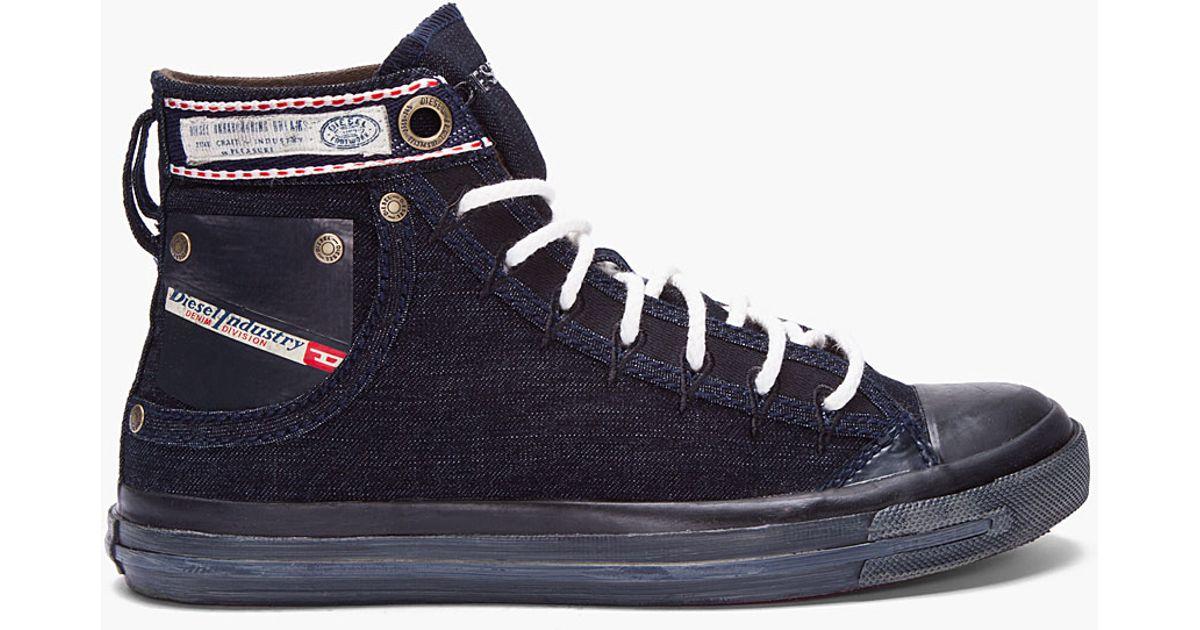534ef17235f DIESEL Indigo Denim Exposure I Sneakers in Blue for Men - Lyst