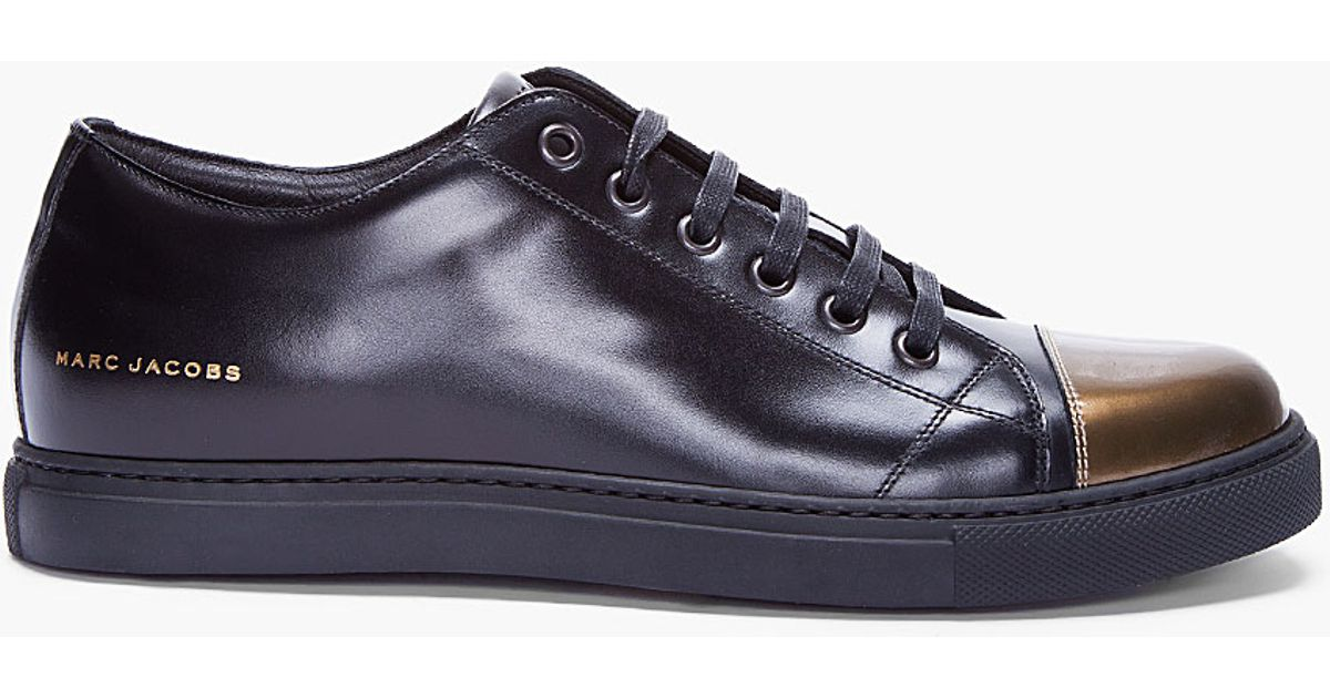 Marc Jacobs Patent Gold Cap Toe Leather