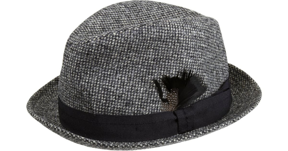 Paul Smith Tweed Trilby Hat in Black for Men - Lyst c5bf4aefe30