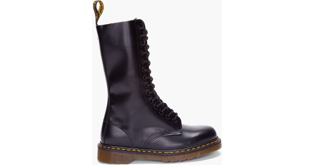 Dr Martens Tall Black Leather Lace Up Boots For Men Lyst
