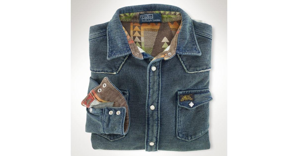 Polo Ralph Lauren Indigo Fleece Western Shirt In Blue For