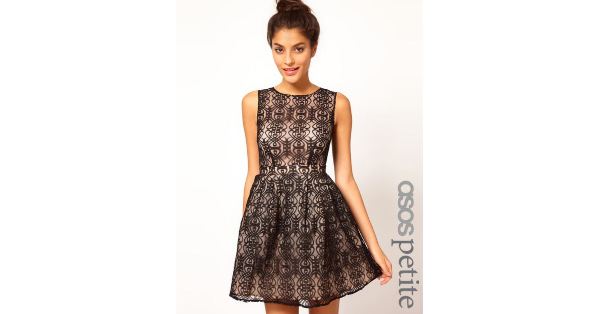 Asos Black Lace Dress With Cut Out Back