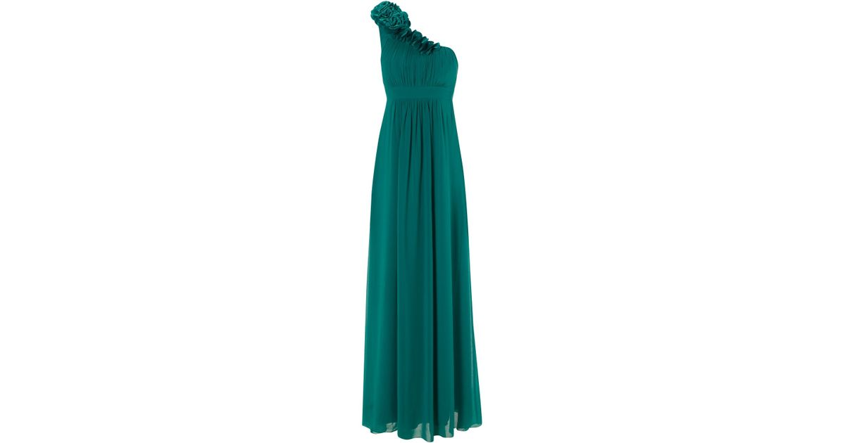 Green pleated bodice maxi dress jane norman