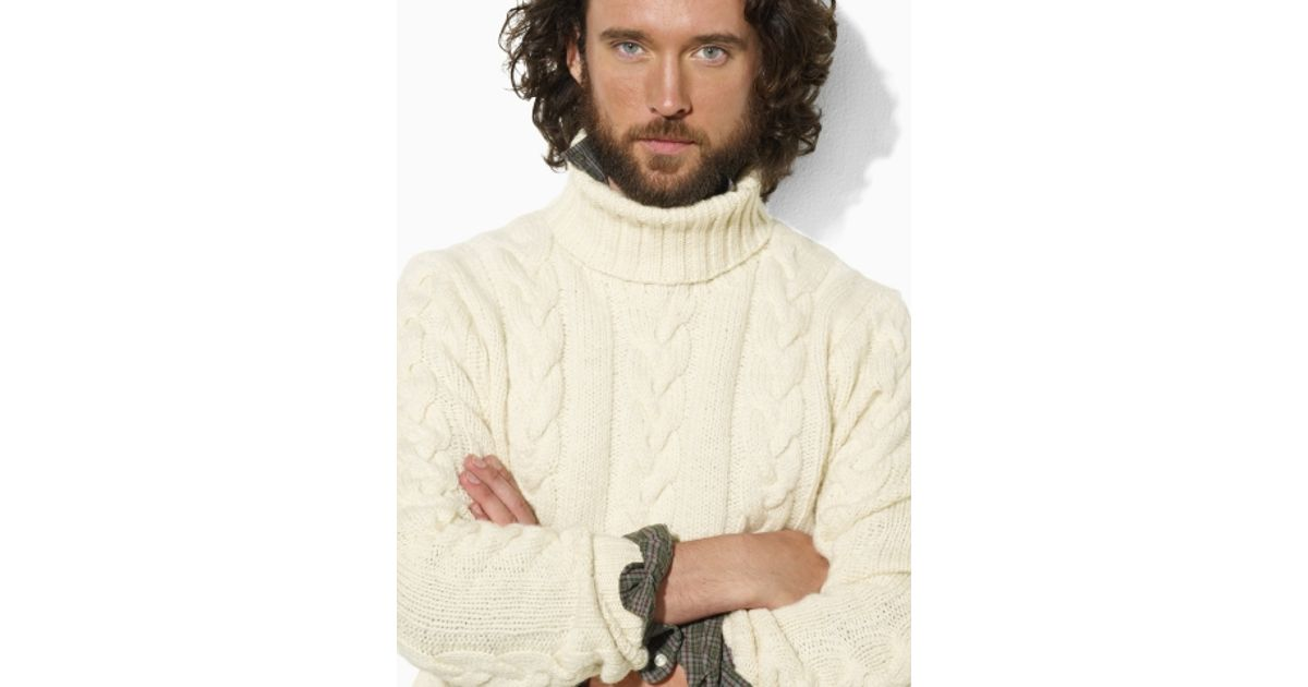 Lyst Polo Ralph Lauren Wool Cabled Turtleneck Sweater In Natural