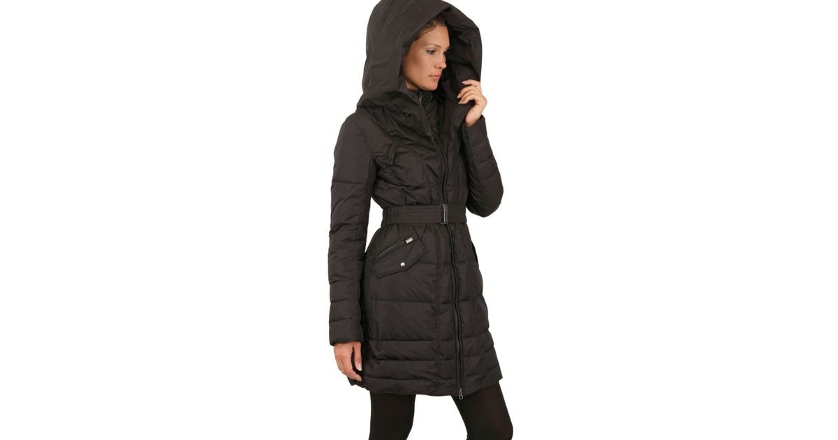 7bb4180c6cb9 Lyst - Add Gloss Nylon Hooded Long Down Jacket in Brown