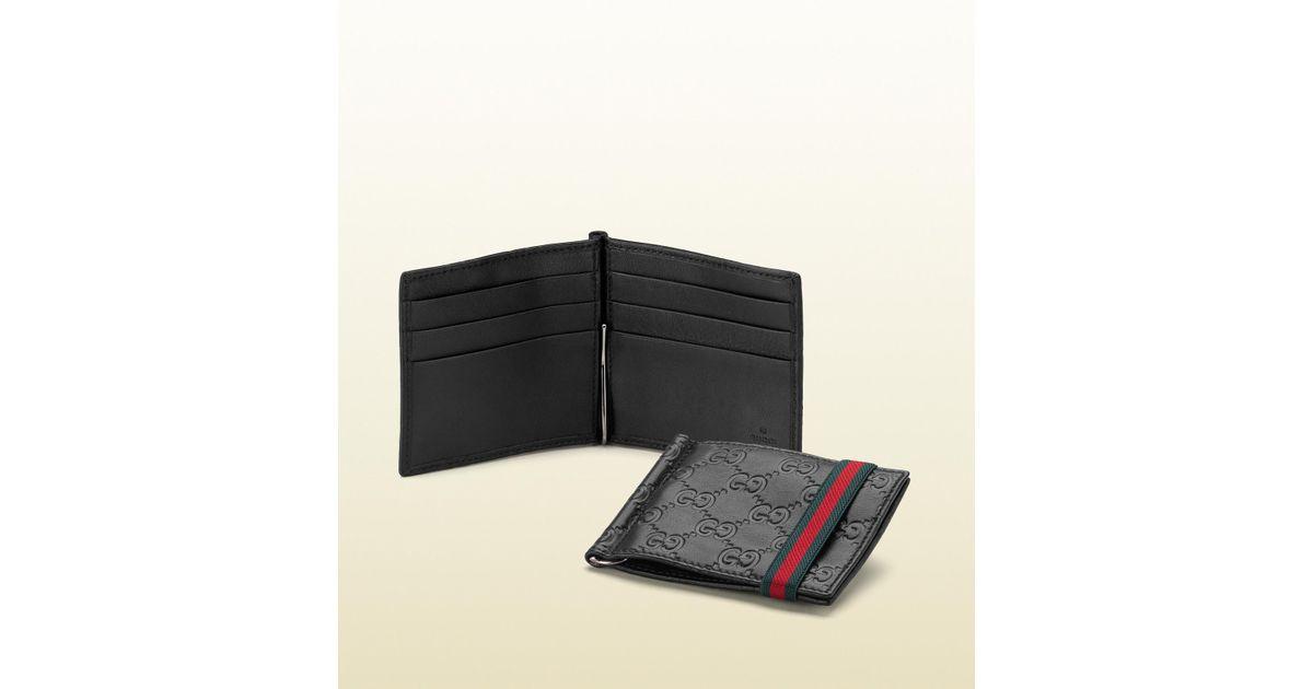 e2d5a1d9 Gucci Black Ssima Leather Money Clip Wallet for men
