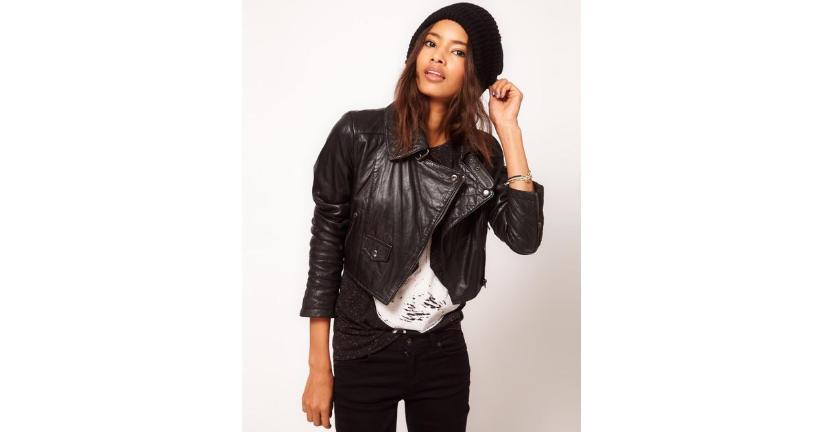 Asos collection Asos Cropped Biker Jacket with Quilted Collar in ... : asos quilted leather jacket - Adamdwight.com