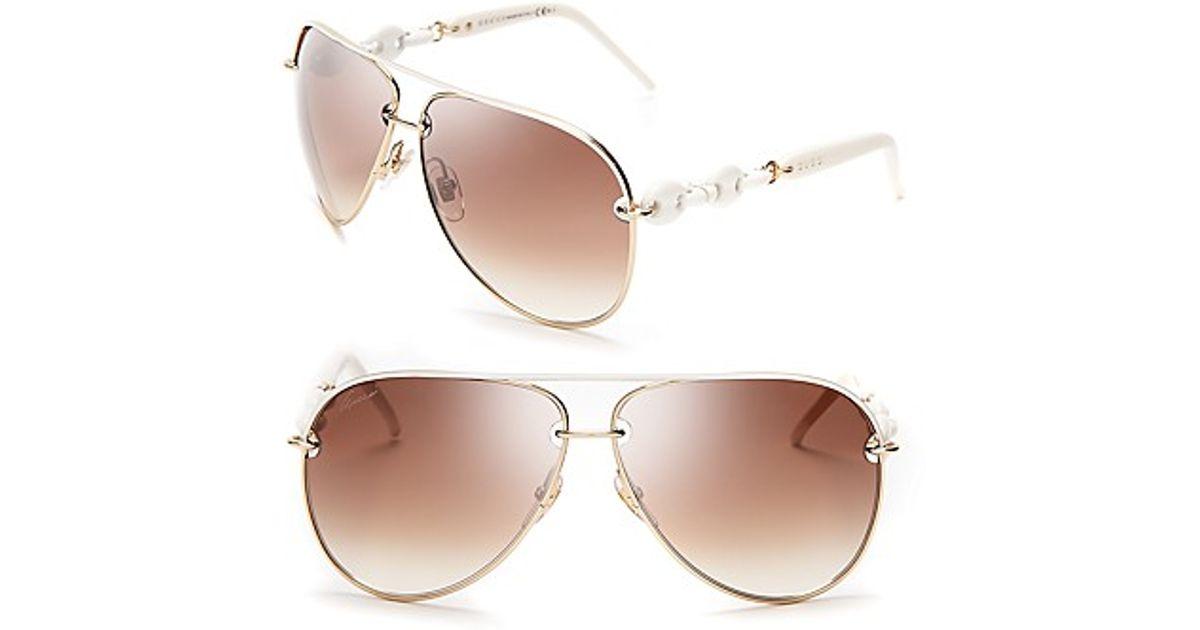 e8cc82db9d9 Lyst - Gucci Chain Link Aviator Sunglasses in White
