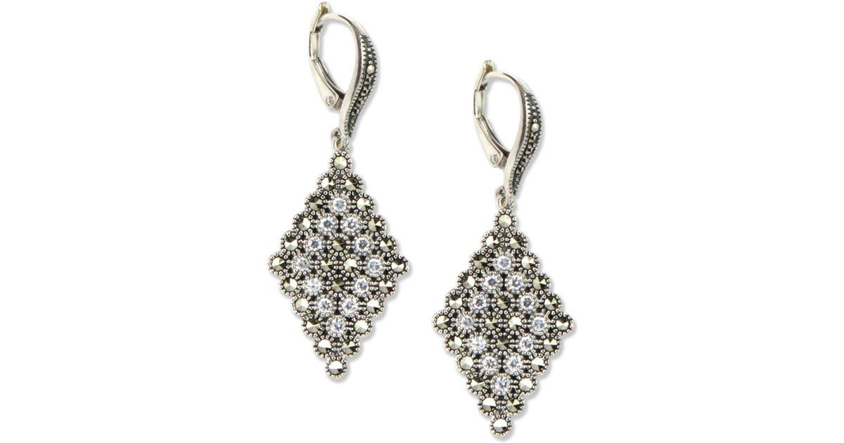Judith Jack Sterling Silver Marcasite Accent Drop Earrings In Metallic Lyst