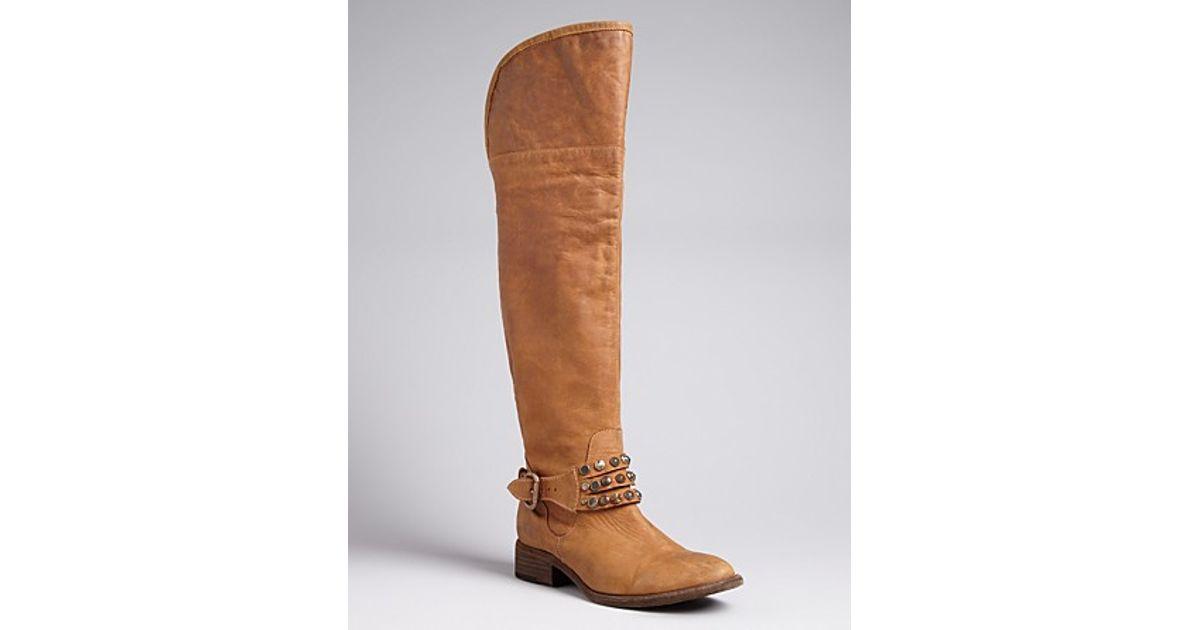 4472b86316d Lyst - Steve Madden Steven By Tall Studded Harness Boots Smoken in Brown