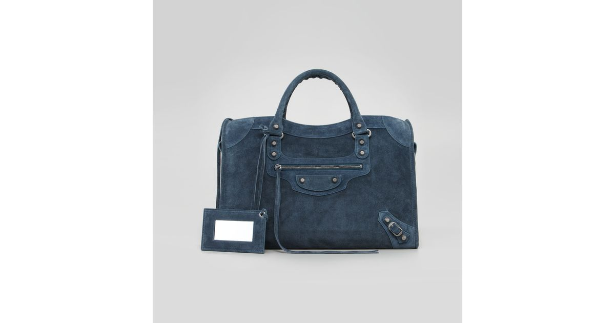 magasin en ligne 44be0 236ca Balenciaga Baby Daim Suede Classic City Bag Arctic Blue