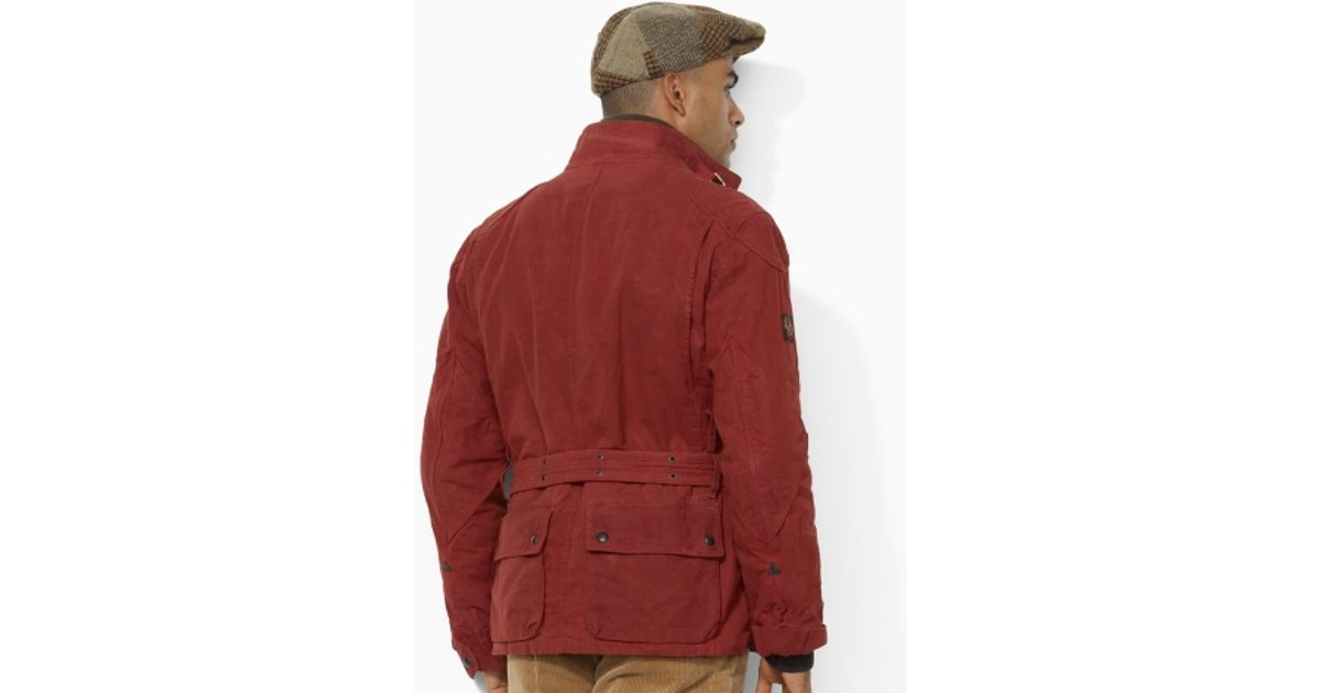 Polo Ralph Lauren Oilcloth Bike Jacket In Red For Men Lyst