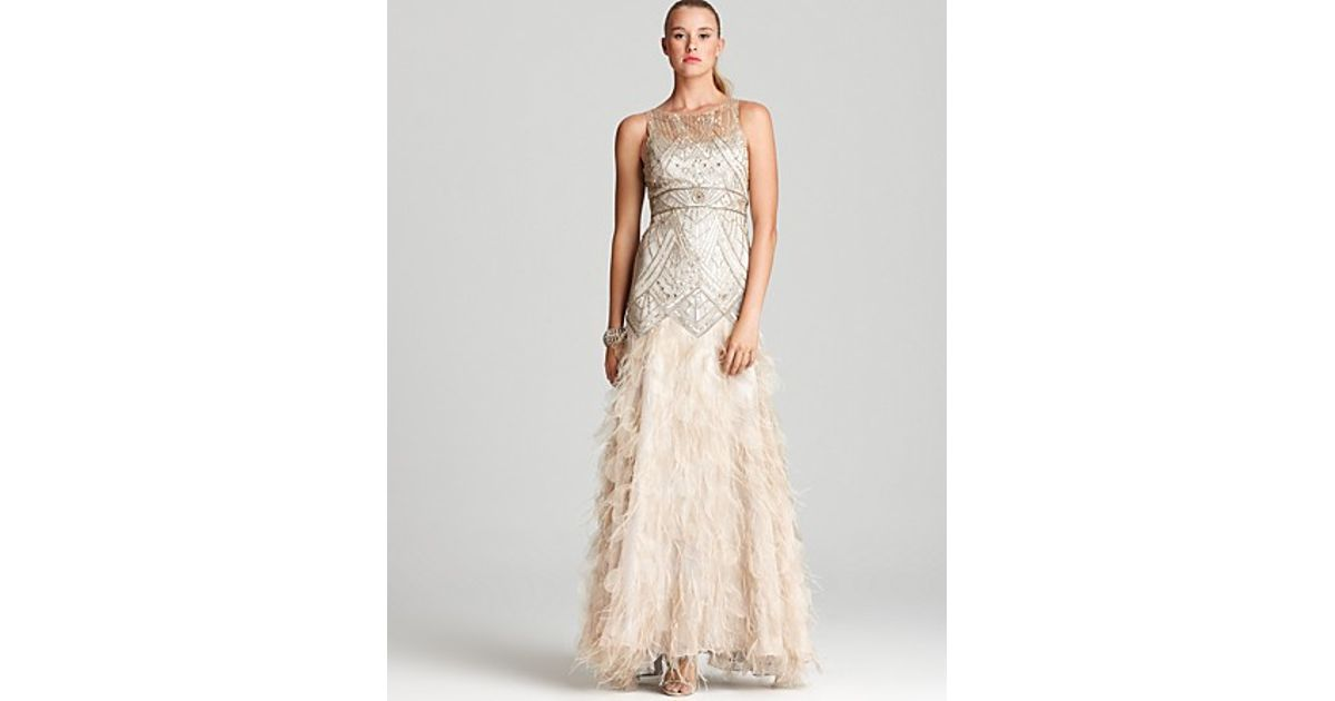 Lyst - Sue Wong Beaded Gown Illusion Neck Fringe Bottom in Metallic