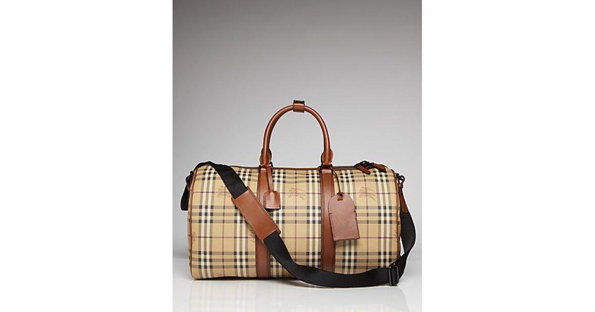 d699008a56c1 Lyst - Burberry Vintage Haymarket Boston Side Luggage Weekender Bag in  Natural for Men
