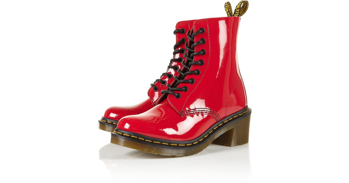 DrMartens Red Boots DrMartens Red Clemency Clemency Boots Heeled DrMartens Heeled EHW92DI