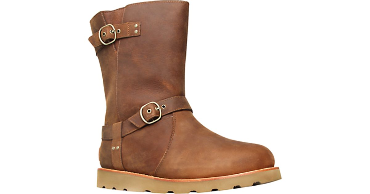 00d75ad0cdc UGG Ugg Noira Leather Double Buckled Calf Boots Brown