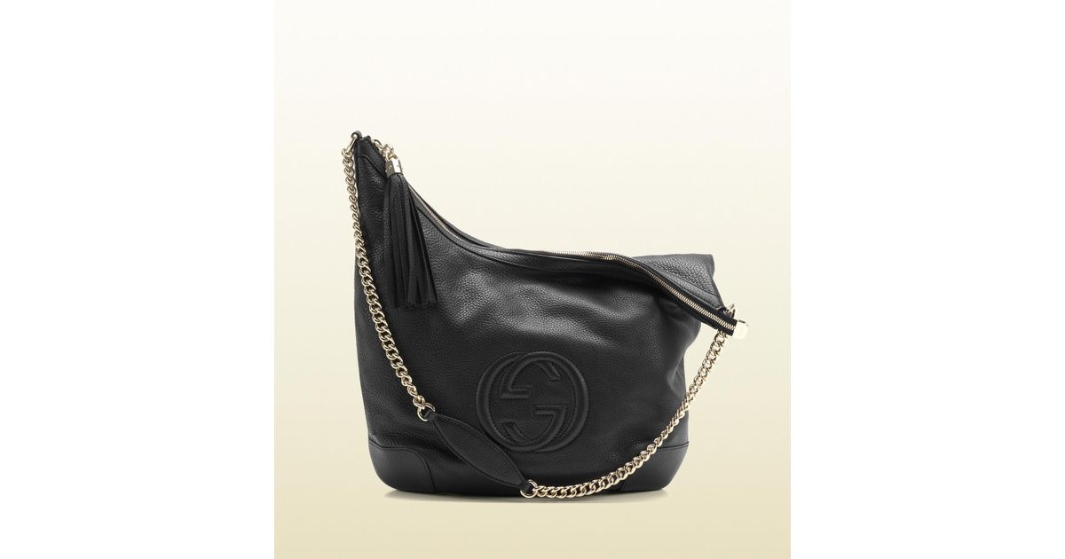 fe4efb65c17b Lyst - Gucci Soho Black Leather Shoulder Bag with Chain Strap in Black