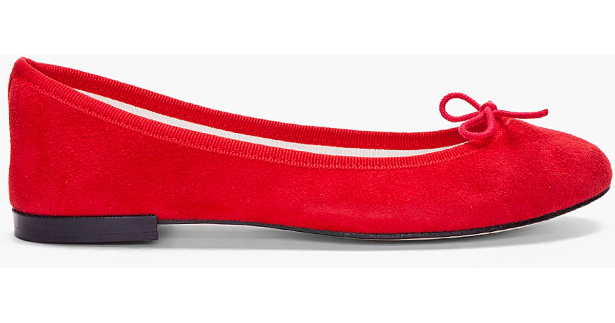 Repetto Red Suede Ballerina Flats - Lyst