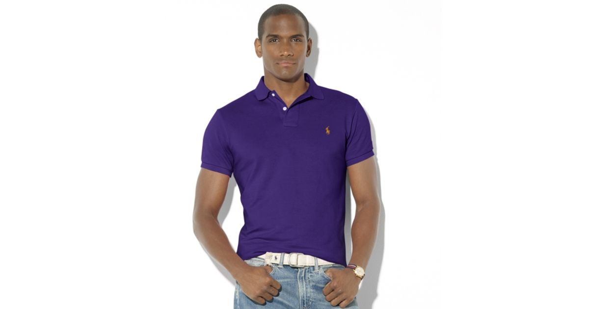 POLO Ralph Lauren Short Sleeved Mesh Men Polo Purple