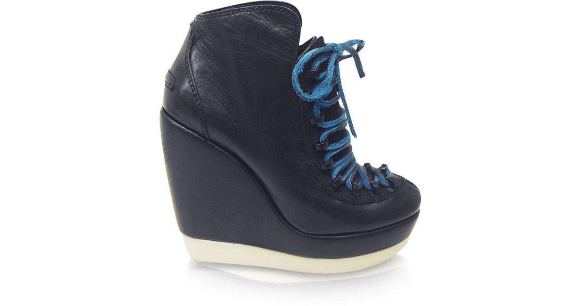 Lyst - KENZO Prisci Leather Platform Wedge Sneaker in Blue