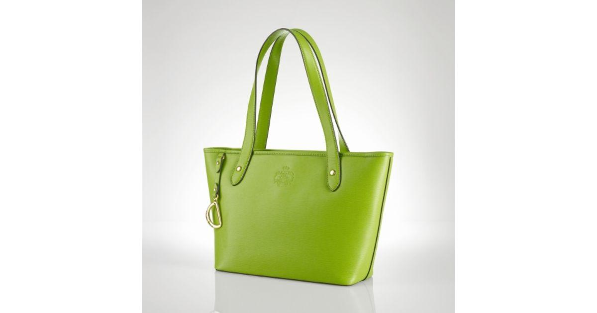cfbca7a3a8 Lauren by Ralph Lauren - Green Newbury Leather Classic Tote - Lyst