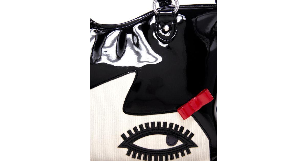 15e6b3bb639 Lyst - Lulu Guinness Doll Face Small Wanda Bag in Black