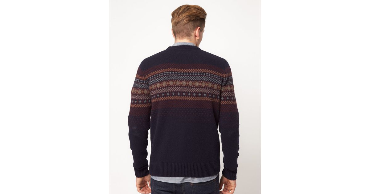 Lyst - Fred perry Fairisle Crew Neck Jumper in Blue for Men