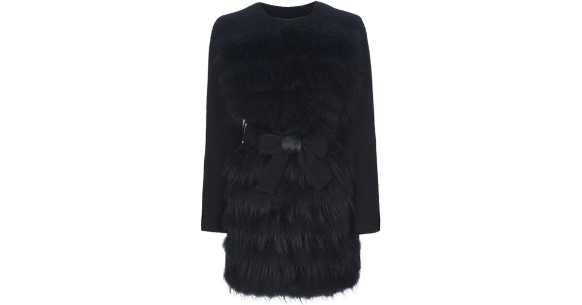 d205c5b400 Pinko Fur Trim Coat in Black - Lyst