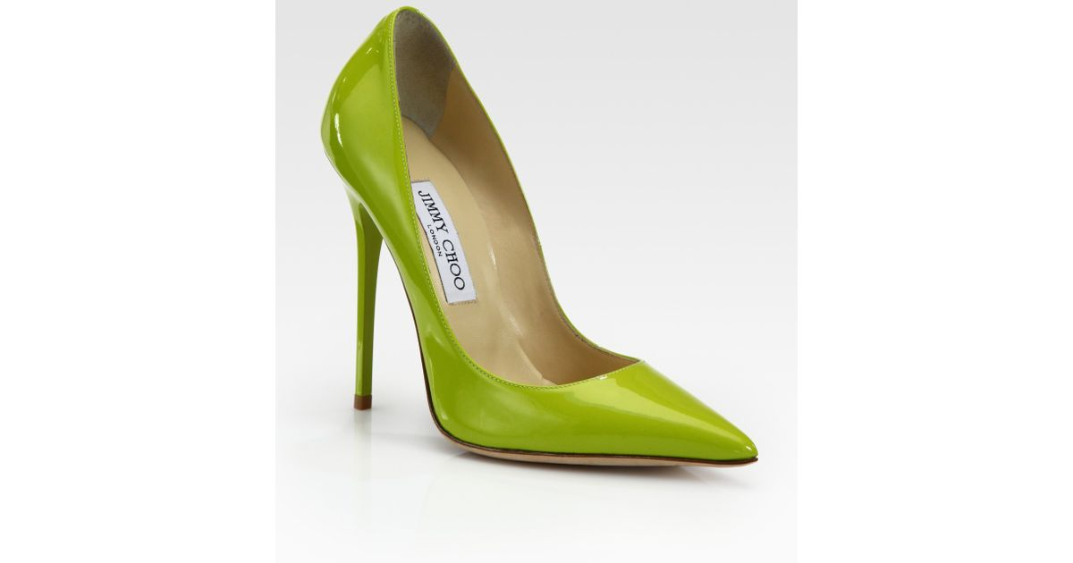 c309ae4d494 Lyst - Jimmy Choo Anouk Patent Leather Pumps in Green