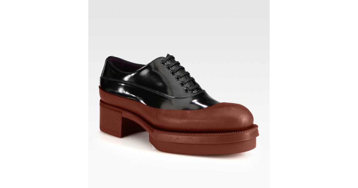 9cd328bdf12d Lyst - Prada Rubberdipped Laceup Oxfords in Brown