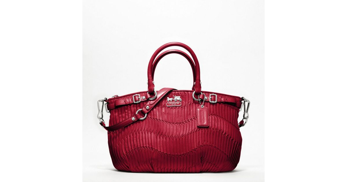 b0b666e7dbc6 ... coupon code lyst coach madison gathered leather sophia satchel in red  9377a d64b8
