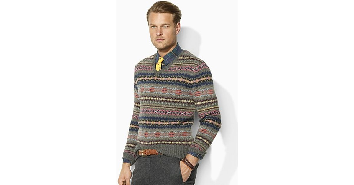 Ralph lauren Polo Longsleeved Wool Vneck Fair Isle Sweater in ...
