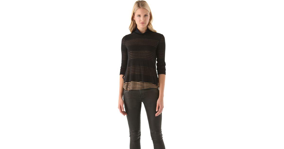 f45e1b2d7d857 Lyst - Splendid Chelsea Shadow Stripe Turtleneck in Black