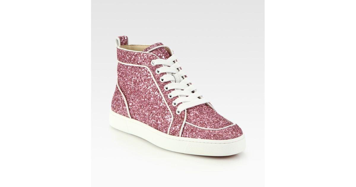 online store fe083 6347b Christian Louboutin Pink Rantus Orlato Glitter Sneakers