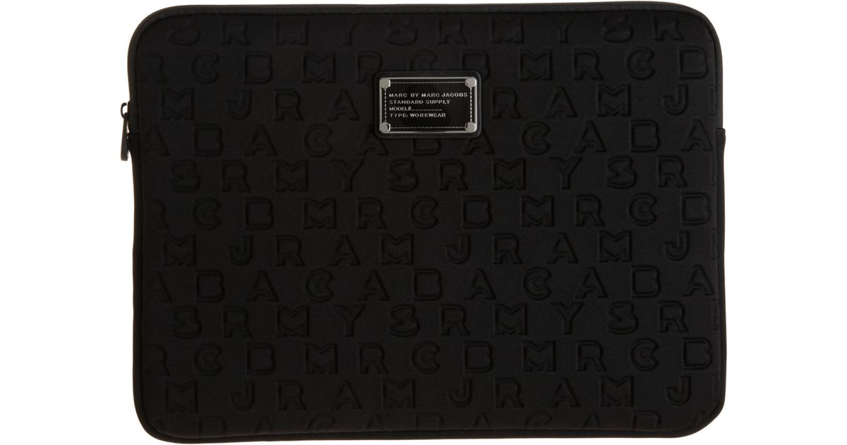 marc by marc jacobs dreamy logo 13 laptop sleeve in black lyst. Black Bedroom Furniture Sets. Home Design Ideas