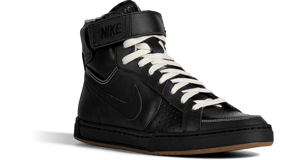 sale retailer 6c24e 21a97 Nike Black Leather Air Flytop Sneakers in Black for Men - Lyst