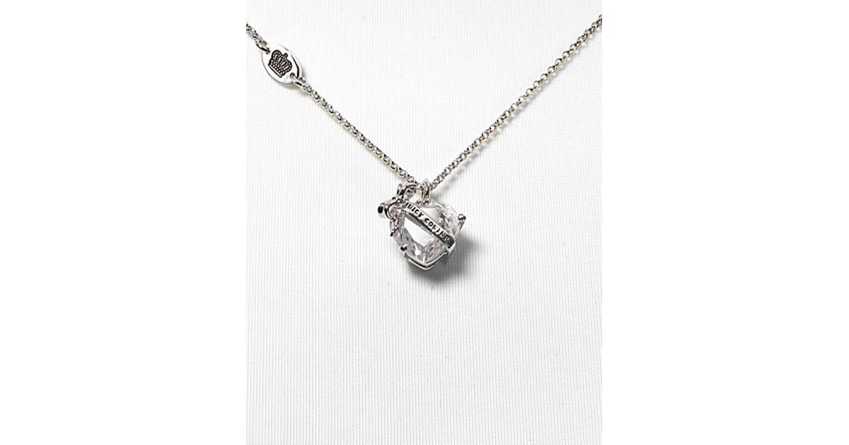 Lyst juicy couture silver chain faceted bow and heart pendant lyst juicy couture silver chain faceted bow and heart pendant necklace 16l in metallic aloadofball Gallery