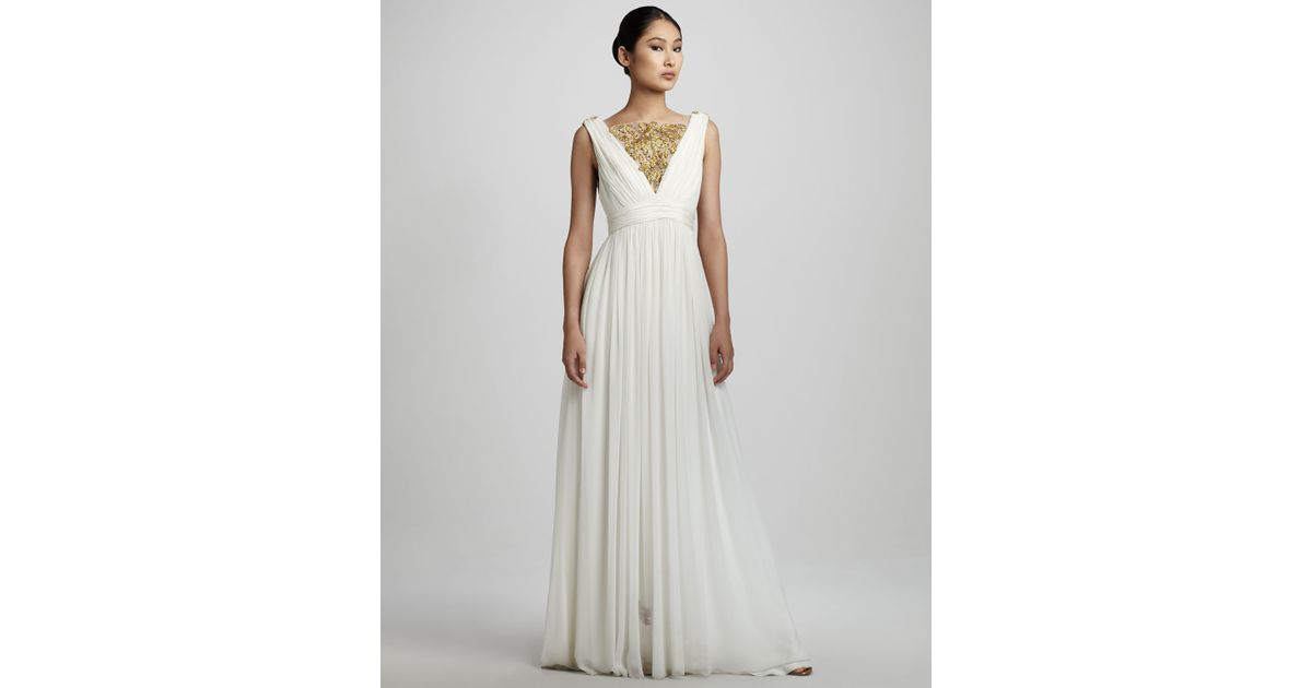 Notte by marchesa Embroidered Grecian Gown in White | Lyst